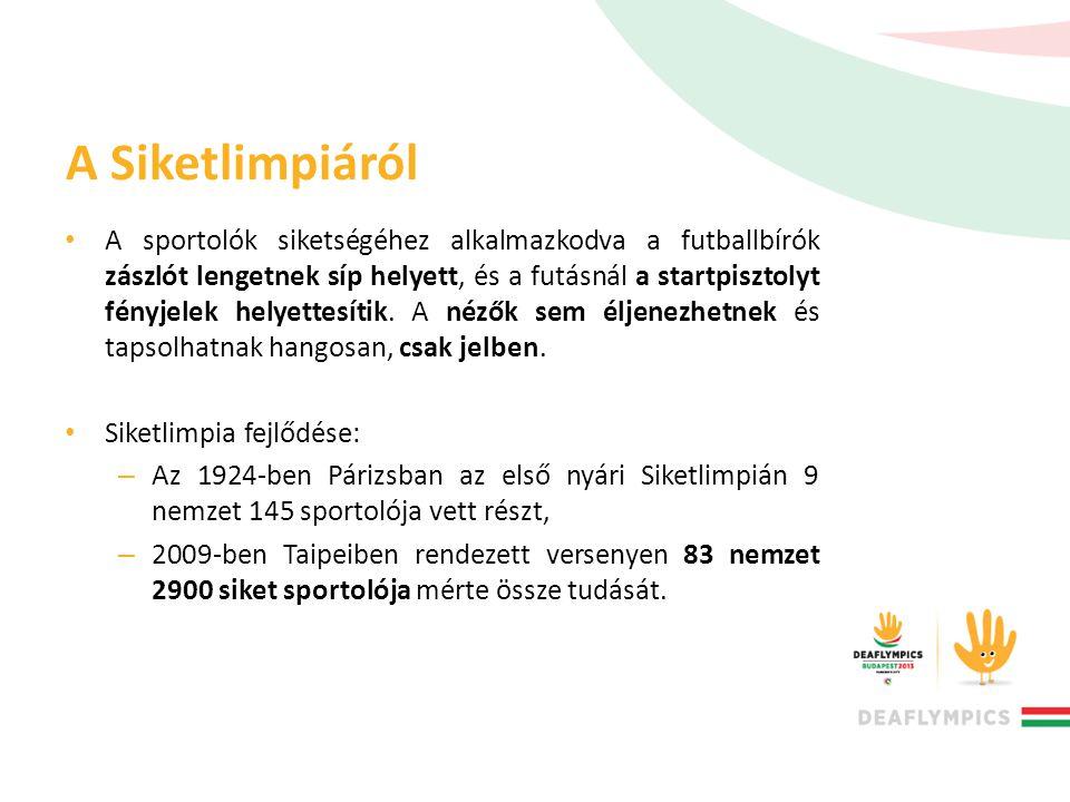 A Siketlimpiáról • A sportolók siketségéhez alkalmazkodva a futballbírók zászlót lengetnek síp helyett, és a futásnál a startpisztolyt fényjelek helye