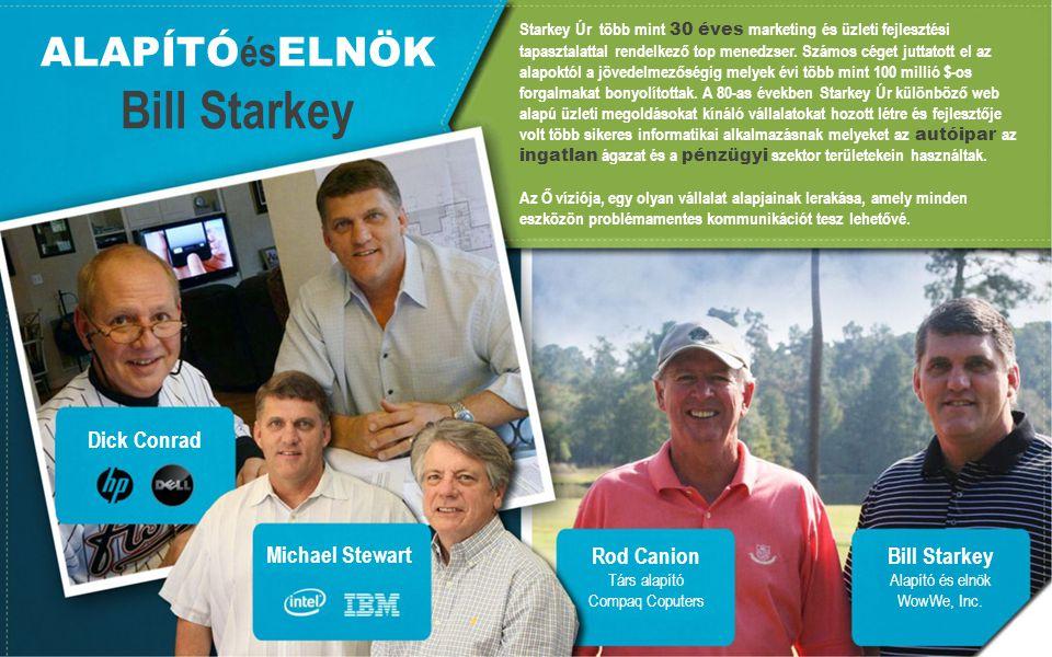 ALAPÍTÓ és ELNÖK Bill Starkey Dick Conrad Michael Stewart Rod Canion Társ alapító Compaq Coputers Bill Starkey Alapító és elnök WowWe, Inc.