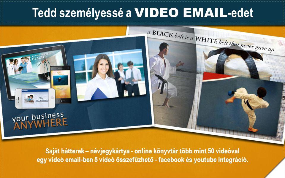 Tedd személyessé a VIDEO EMAIL -edet Saját hátterek – névjegykártya - online könyvtár több mint 50 videóval egy videó email-ben 5 videó összefűzhető - facebook és youtube integráció.
