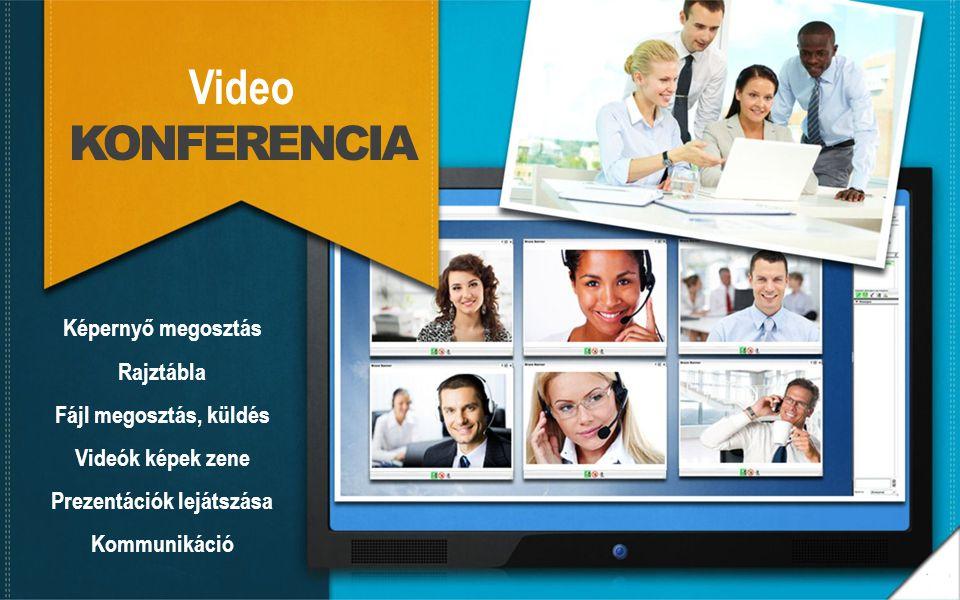 Video KONFERENCIA Képernyő megosztás Rajztábla Fájl megosztás, küldés Videók képek zene Prezentációk lejátszása Kommunikáció