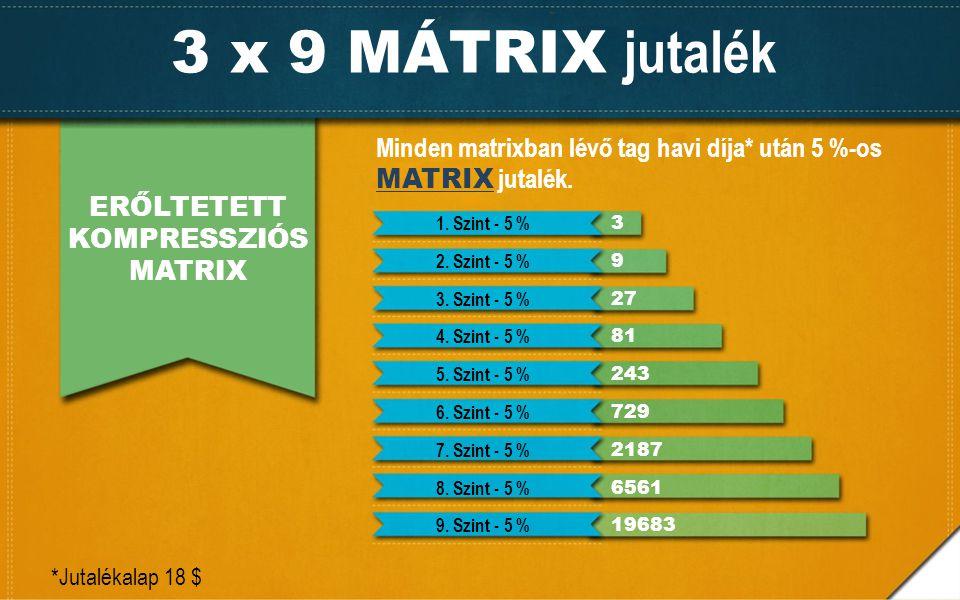 3 x 9 MÁTRIX jutalék ERŐLTETETT KOMPRESSZIÓS MATRIX Minden matrixban lévő tag havi díja* után 5 %-os MATRIX jutalék. *Jutalékalap 18 $ 1. Szint - 5 %
