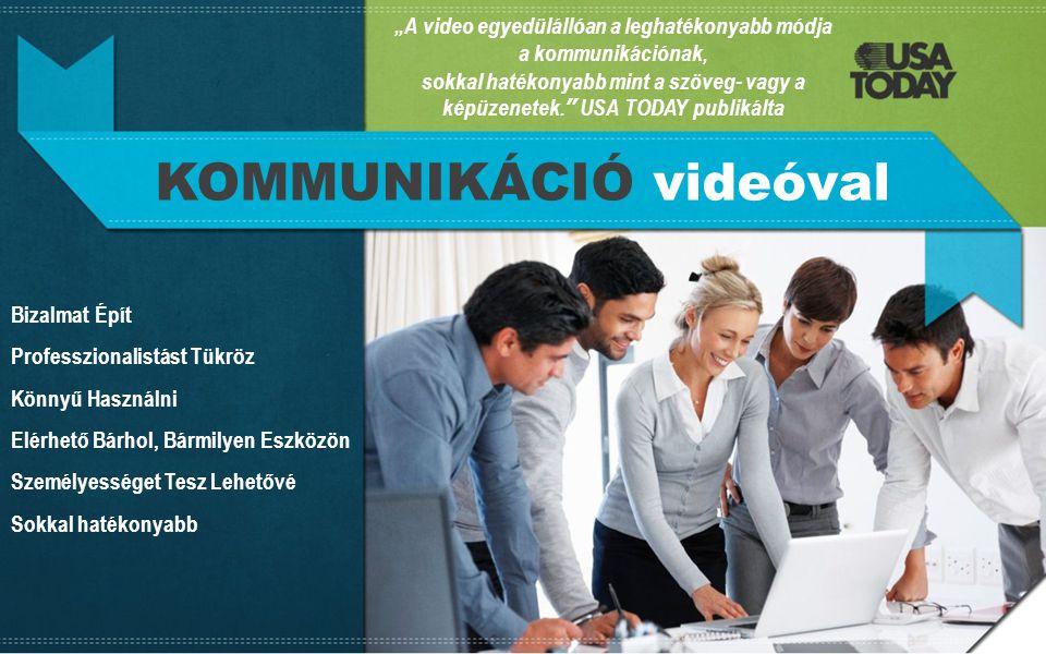 """""""A video egyedülállóan a leghatékonyabb módja a kommunikációnak, sokkal hatékonyabb mint a szöveg- vagy a képüzenetek. USA TODAY publikálta KOMMUNIKÁCIÓ videóval Bizalmat Épít Professzionalistást Tükröz Könnyű Használni Elérhető Bárhol, Bármilyen Eszközön Személyességet Tesz Lehetővé Sokkal hatékonyabb"""