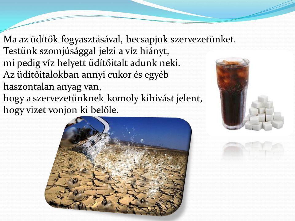 Ma az üdítők fogyasztásával, becsapjuk szervezetünket. Testünk szomjúsággal jelzi a víz hiányt, mi pedig víz helyett üdítőitalt adunk neki. Az üdítőit