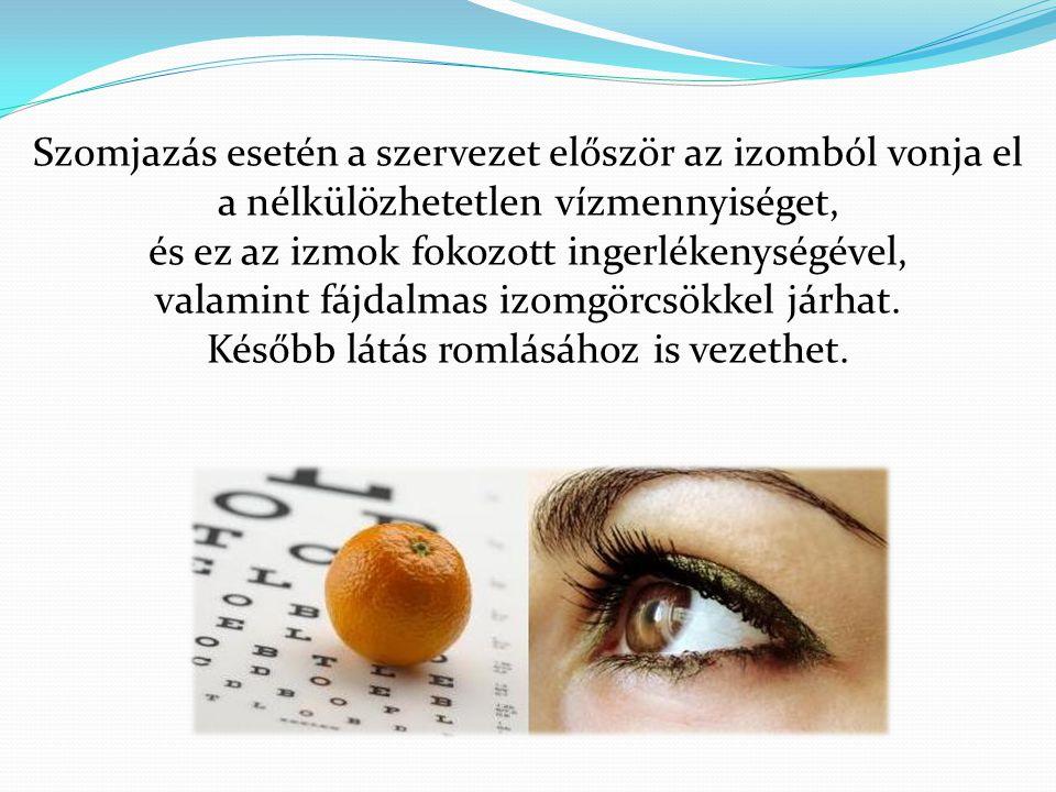 Szomjazás esetén a szervezet először az izomból vonja el a nélkülözhetetlen vízmennyiséget, és ez az izmok fokozott ingerlékenységével, valamint fájda