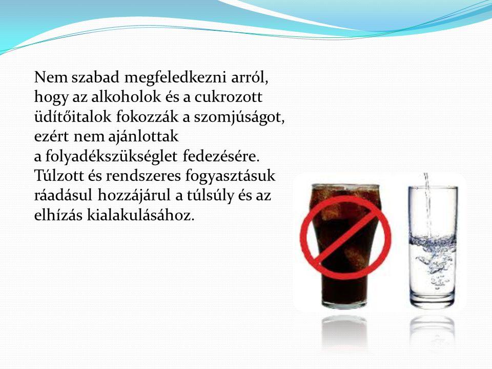 Nem szabad megfeledkezni arról, hogy az alkoholok és a cukrozott üdítőitalok fokozzák a szomjúságot, ezért nem ajánlottak a folyadékszükséglet fedezés