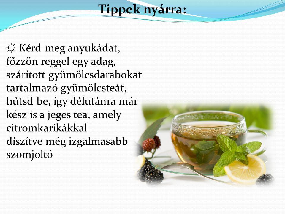 Tippek nyárra: ☼ Kérd meg anyukádat, főzzön reggel egy adag, szárított gyümölcsdarabokat tartalmazó gyümölcsteát, hűtsd be, így délutánra már kész is