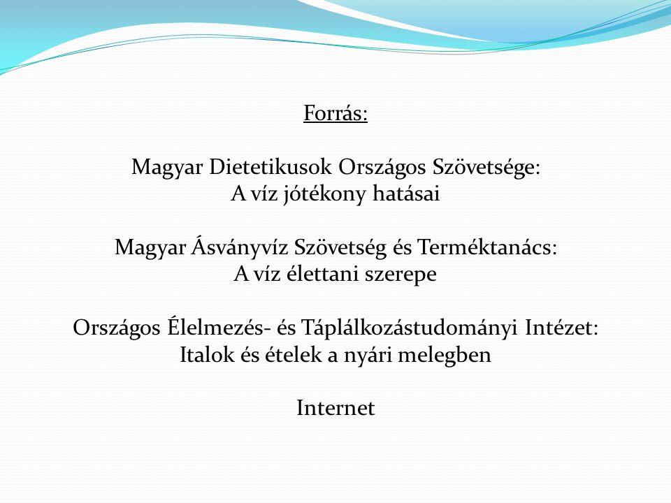 Forrás: Magyar Dietetikusok Országos Szövetsége: A víz jótékony hatásai Magyar Ásványvíz Szövetség és Terméktanács: A víz élettani szerepe Országos Él