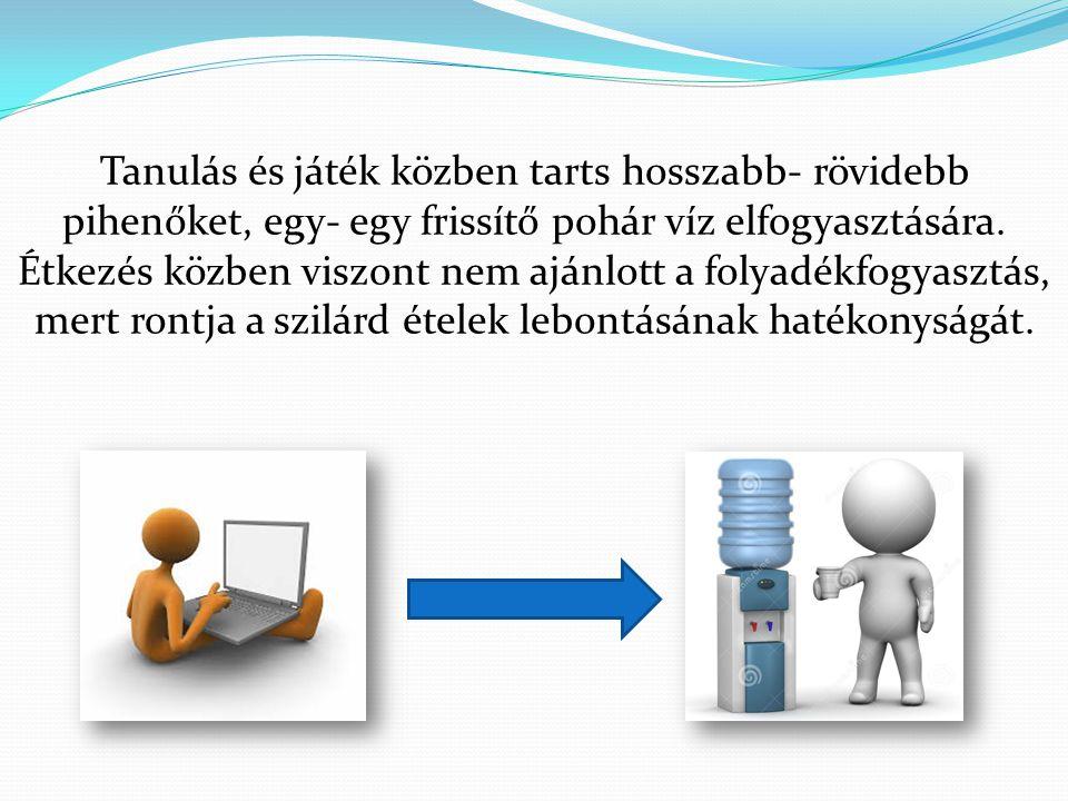 Tanulás és játék közben tarts hosszabb- rövidebb pihenőket, egy- egy frissítő pohár víz elfogyasztására. Étkezés közben viszont nem ajánlott a folyadé