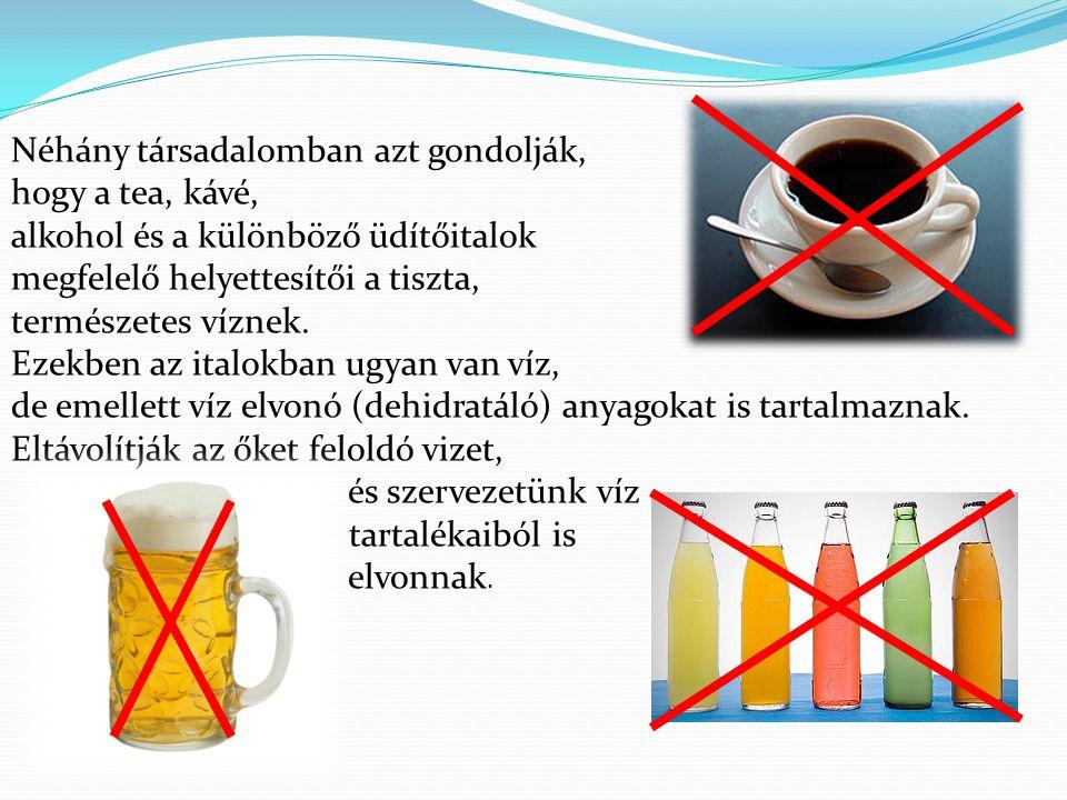 Néhány társadalomban azt gondolják, hogy a tea, kávé, alkohol és a különböző üdítőitalok megfelelő helyettesítői a tiszta, természetes víznek. Ezekben