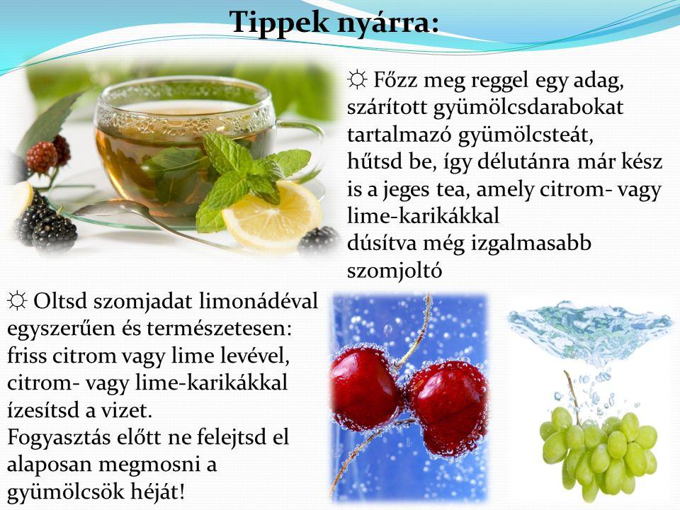 ☼ Főzz meg reggel egy adag, szárított gyümölcsdarabokat tartalmazó gyümölcsteát, hűtsd be, így délutánra már kész is a jeges tea, amely citrom- vagy l