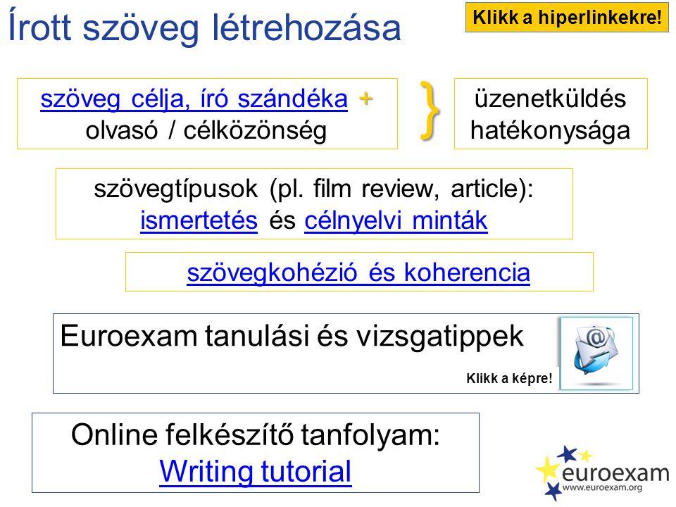 Írott szöveg létrehozása üzenetküldés hatékonysága szövegtípusok (pl. film review, article): ismertetésismertetés és célnyelvi mintákcélnyelvi minták