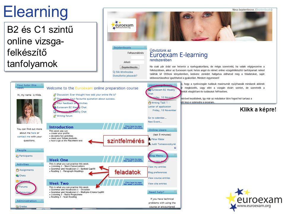 Elearning Klikk a képre! szintfelmérés feladatok B2 és C1 szintű online vizsga- felkészítő tanfolyamok