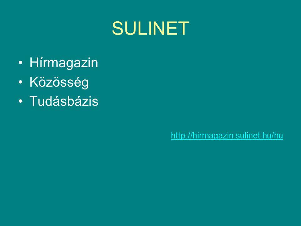SULINET •Hírmagazin •Közösség •Tudásbázis http://hirmagazin.sulinet.hu/hu