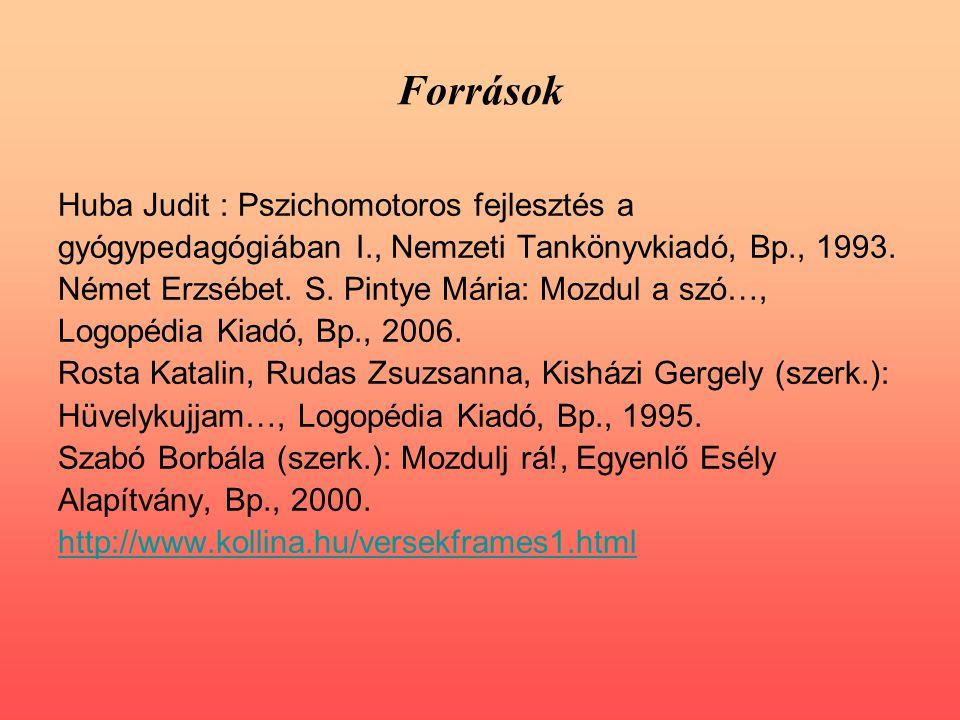 Források Huba Judit : Pszichomotoros fejlesztés a gyógypedagógiában I., Nemzeti Tankönyvkiadó, Bp., 1993.