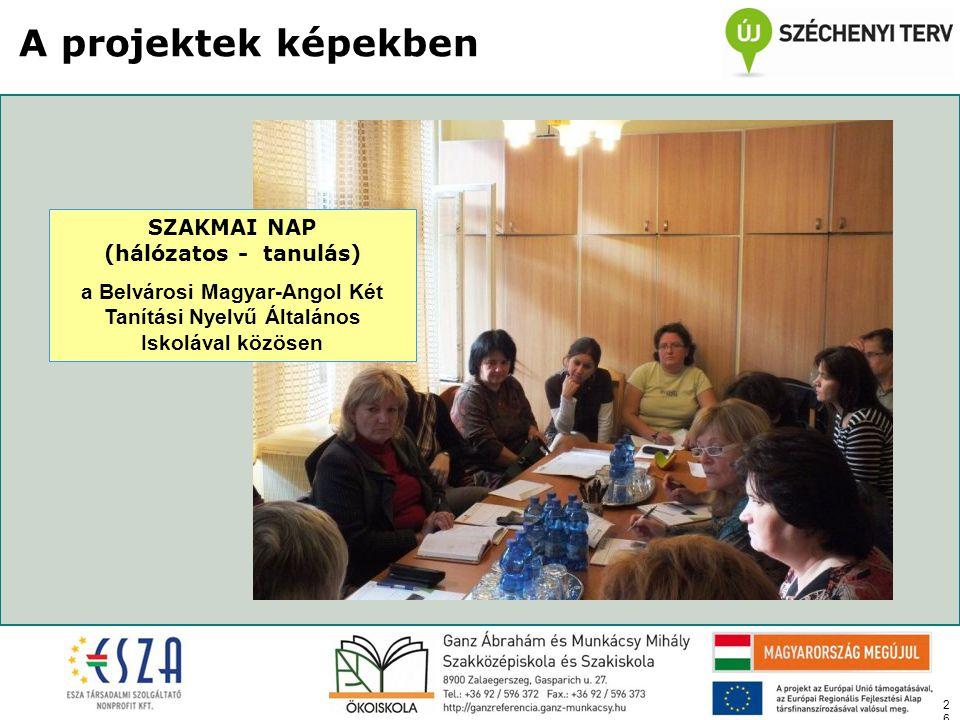 26 A projektek képekben SZAKMAI NAP (hálózatos - tanulás) a Belvárosi Magyar-Angol Két Tanítási Nyelvű Általános Iskolával közösen