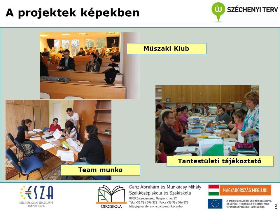 27 A projektek képekben Tantestületi tájékoztató Team munka Műszaki Klub