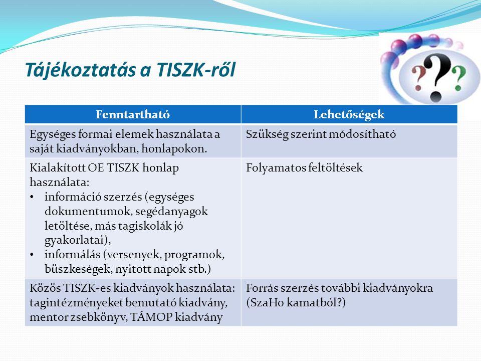 Tájékoztatás a TISZK-ről FenntarthatóLehetőségek Egységes formai elemek használata a saját kiadványokban, honlapokon. Szükség szerint módosítható Kial