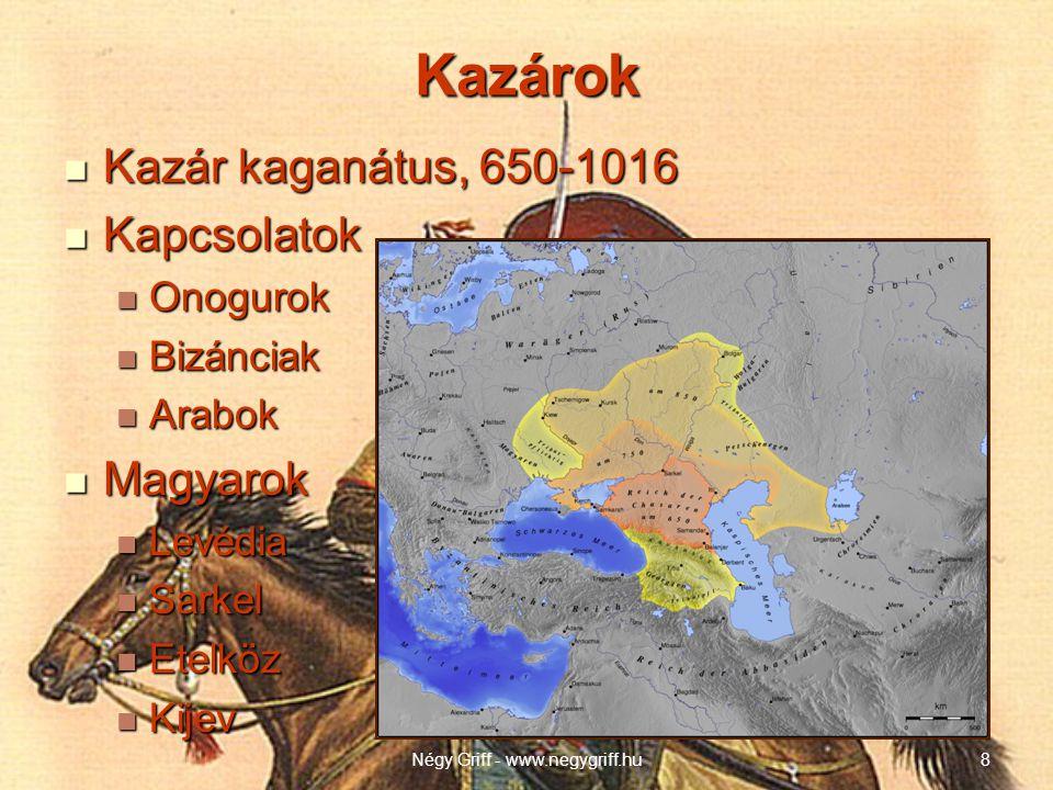 Kazárok  Kazár kaganátus, 650-1016  Kapcsolatok  Onogurok  Bizánciak  Arabok  Magyarok  Levédia  Sarkel  Etelköz  Kijev Négy Griff - www.negygriff.hu8
