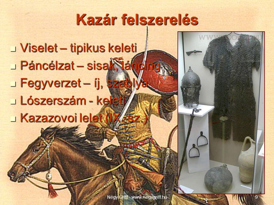 Kazár felszerelés  Viselet – tipikus keleti  Páncélzat – sisak, láncing  Fegyverzet – íj, szablya  Lószerszám - keleti  Kazazovoi lelet (IX.