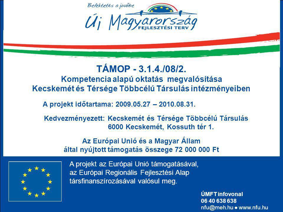  Kecskemét és Térsége Többcélú Társulás  72 000 000 Ft támogatás (4 tagintézmény) TÁMOP - 3.1.4./08/2.