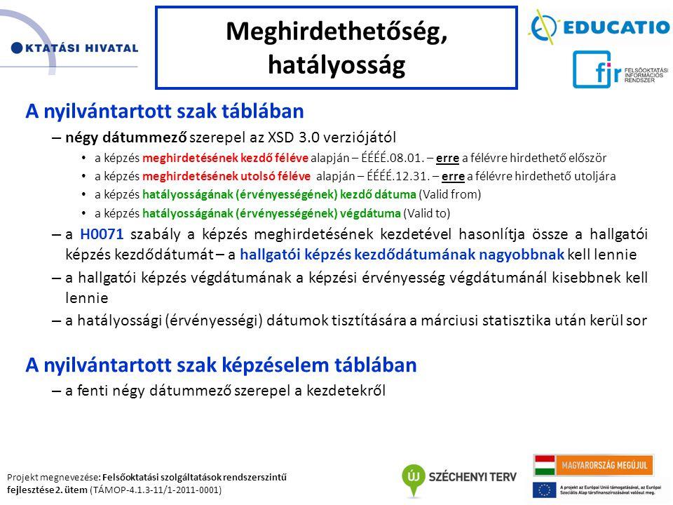 Projekt megnevezése: Felsőoktatási szolgáltatások rendszerszintű fejlesztése 2. ütem (TÁMOP-4.1.3-11/1-2011-0001) A nyilvántartott szak táblában – nég