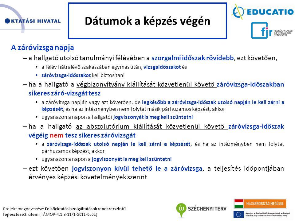 Projekt megnevezése: Felsőoktatási szolgáltatások rendszerszintű fejlesztése 2. ütem (TÁMOP-4.1.3-11/1-2011-0001) A záróvizsga napja – a hallgató utol