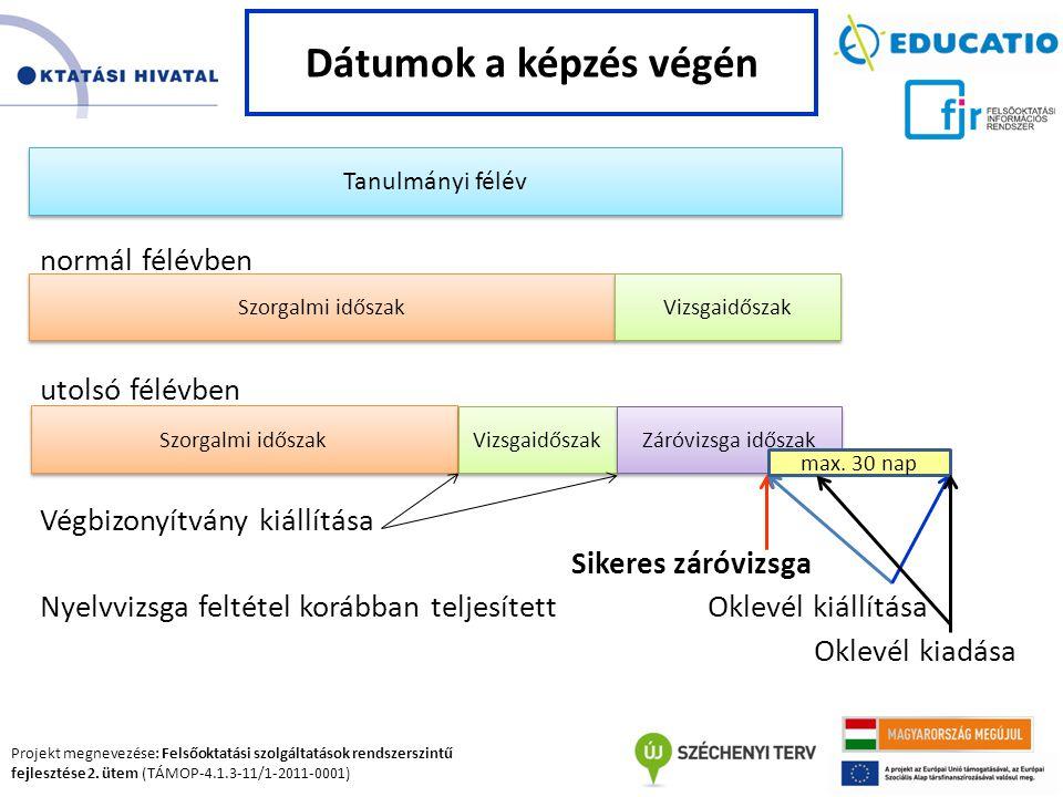 Projekt megnevezése: Felsőoktatási szolgáltatások rendszerszintű fejlesztése 2. ütem (TÁMOP-4.1.3-11/1-2011-0001) normál félévben utolsó félévben Végb