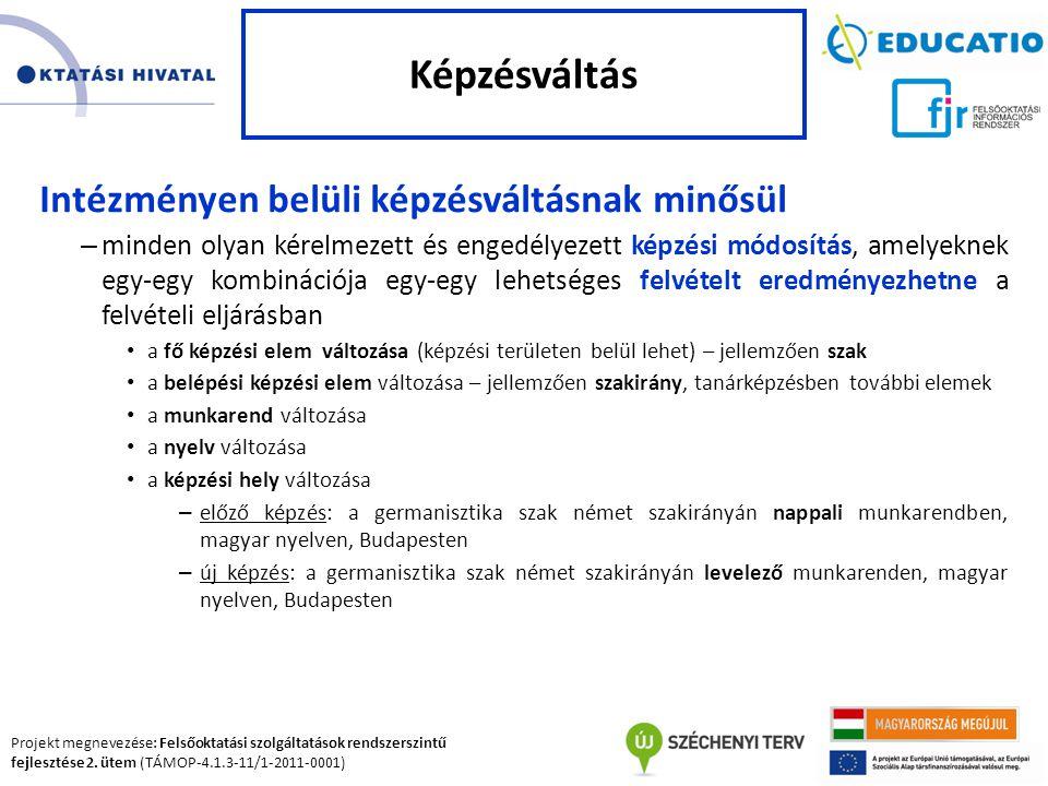 Projekt megnevezése: Felsőoktatási szolgáltatások rendszerszintű fejlesztése 2. ütem (TÁMOP-4.1.3-11/1-2011-0001) Intézményen belüli képzésváltásnak m