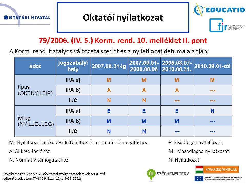Projekt megnevezése: Felsőoktatási szolgáltatások rendszerszintű fejlesztése 2. ütem (TÁMOP-4.1.3-11/1-2011-0001) 79/2006. (IV. 5.) Korm. rend. 10. me