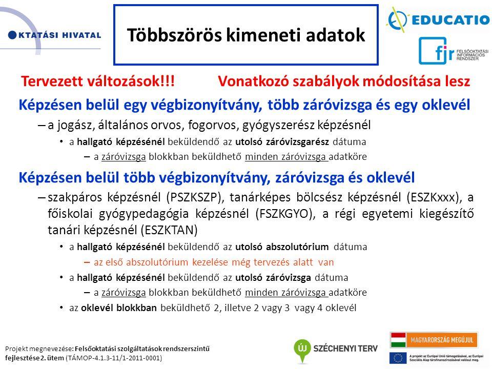 Projekt megnevezése: Felsőoktatási szolgáltatások rendszerszintű fejlesztése 2. ütem (TÁMOP-4.1.3-11/1-2011-0001) Tervezett változások!!! Vonatkozó sz