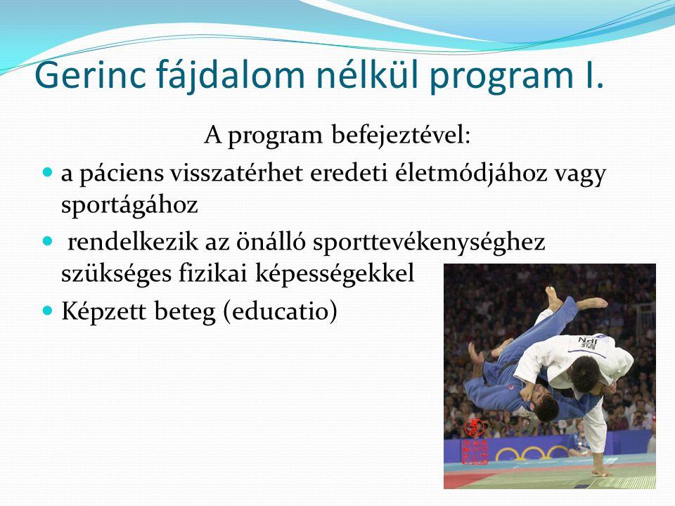 Gerinc fájdalom nélkül program I. A program befejeztével:  a páciens visszatérhet eredeti életmódjához vagy sportágához  rendelkezik az önálló sport