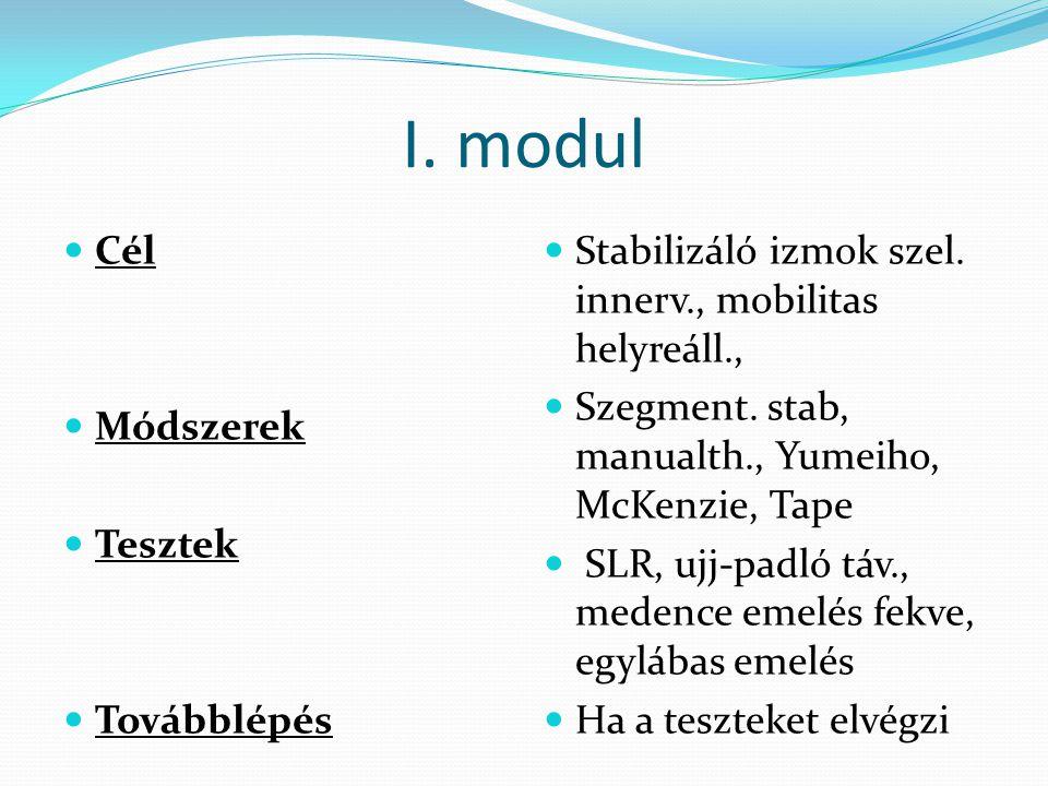 I. modul  Cél  Módszerek  Tesztek  Továbblépés  Stabilizáló izmok szel. innerv., mobilitas helyreáll.,  Szegment. stab, manualth., Yumeiho, McKe