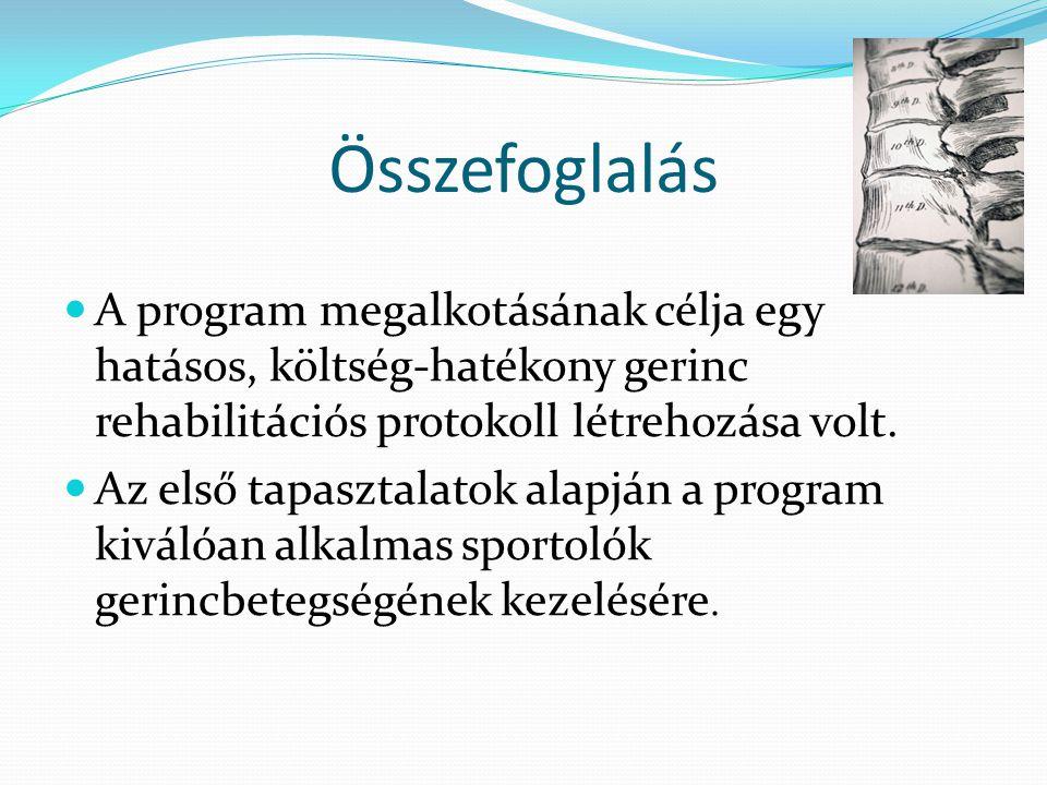 Összefoglalás  A program megalkotásának célja egy hatásos, költség-hatékony gerinc rehabilitációs protokoll létrehozása volt.  Az első tapasztalatok