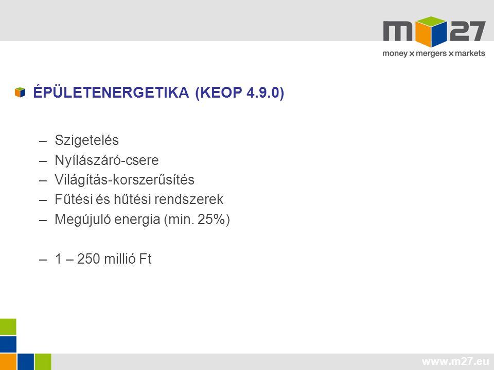 www.m27.eu ÉPÜLETENERGETIKA (KEOP 4.9.0) –Szigetelés –Nyílászáró-csere –Világítás-korszerűsítés –Fűtési és hűtési rendszerek –Megújuló energia (min.