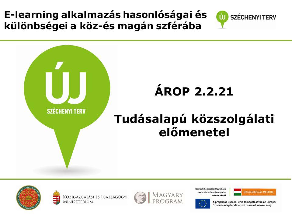 E-learning alkalmazás hasonlóságai és különbségei a köz-és magán szférába ÁROP 2.2.21 Tudásalapú közszolgálati előmenetel