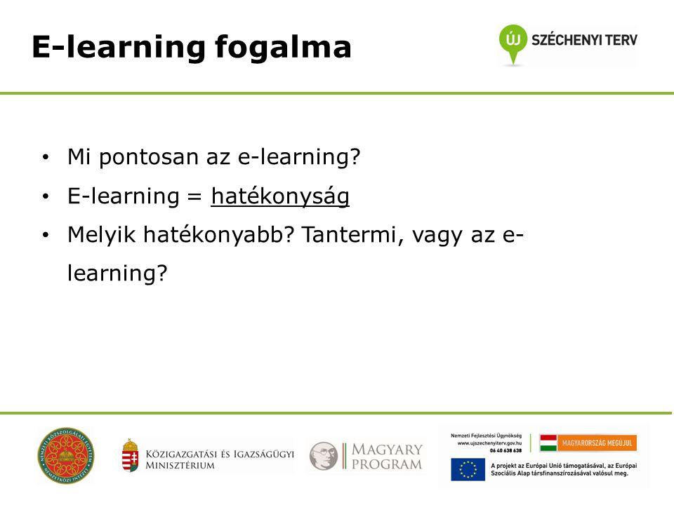 E-learning fogalma • Mi pontosan az e-learning. • E-learning = hatékonyság • Melyik hatékonyabb.