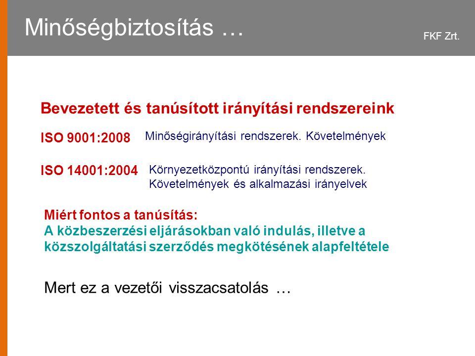 FKF Zrt.Minőségbiztosítás … ISO 14001:2004 ISO 9001:2008 Környezetközpontú irányítási rendszerek.