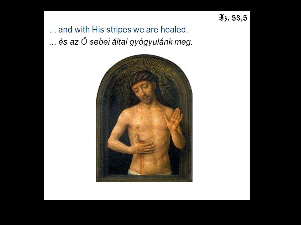 Iz. 53,5... and with His stripes we are healed.... és az Ő sebei által gyógyulánk meg.