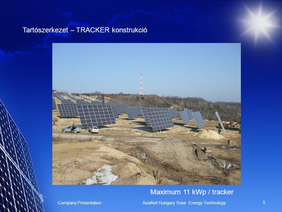5 Tartószerkezet – TRACKER konstrukció Company Presentation AsiaNet Hungary Solar Energy Technology Maximum 11 kWp / tracker