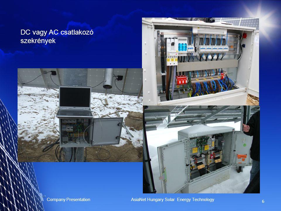 6 Company Presentation AsiaNet Hungary Solar Energy Technology DC vagy AC csatlakozó szekrények