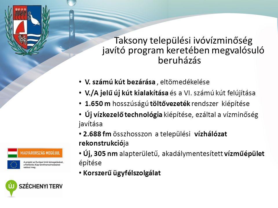 Taksony települési ivóvízminőség javító program keretében megvalósuló beruházás • V.