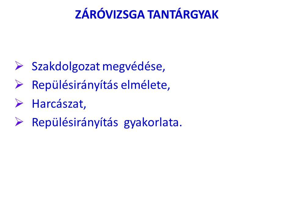 ZÁRÓVIZSGA TANTÁRGYAK  Szakdolgozat megvédése,  Repülésirányítás elmélete,  Harcászat,  Repülésirányítás gyakorlata.