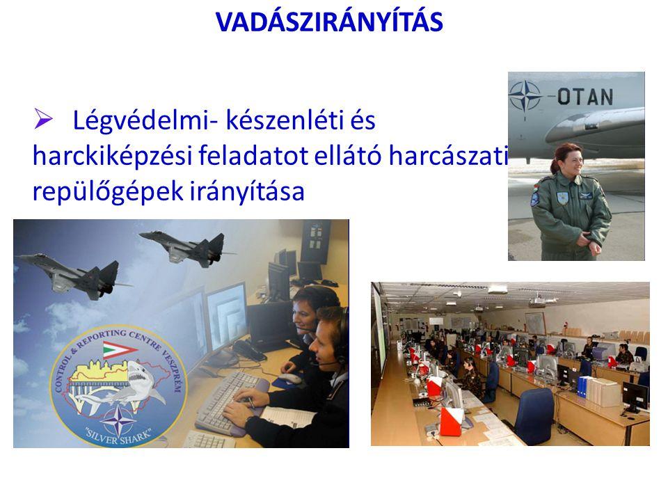 VADÁSZIRÁNYÍTÁS  Légvédelmi- készenléti és harckiképzési feladatot ellátó harcászati repülőgépek irányítása