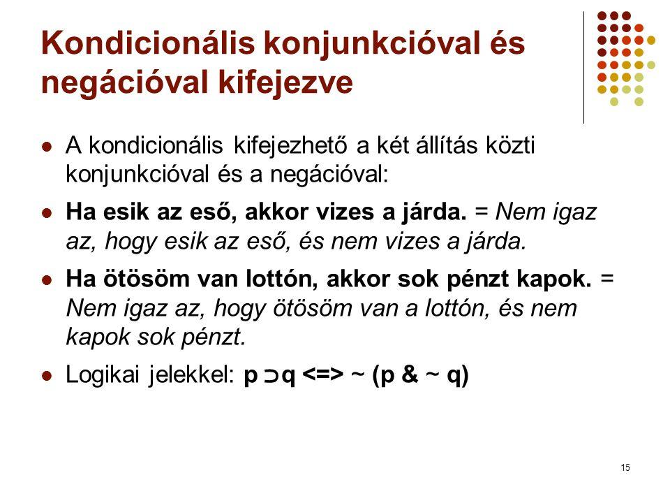 15 Kondicionális konjunkcióval és negációval kifejezve  A kondicionális kifejezhető a két állítás közti konjunkcióval és a negációval:  Ha esik az e