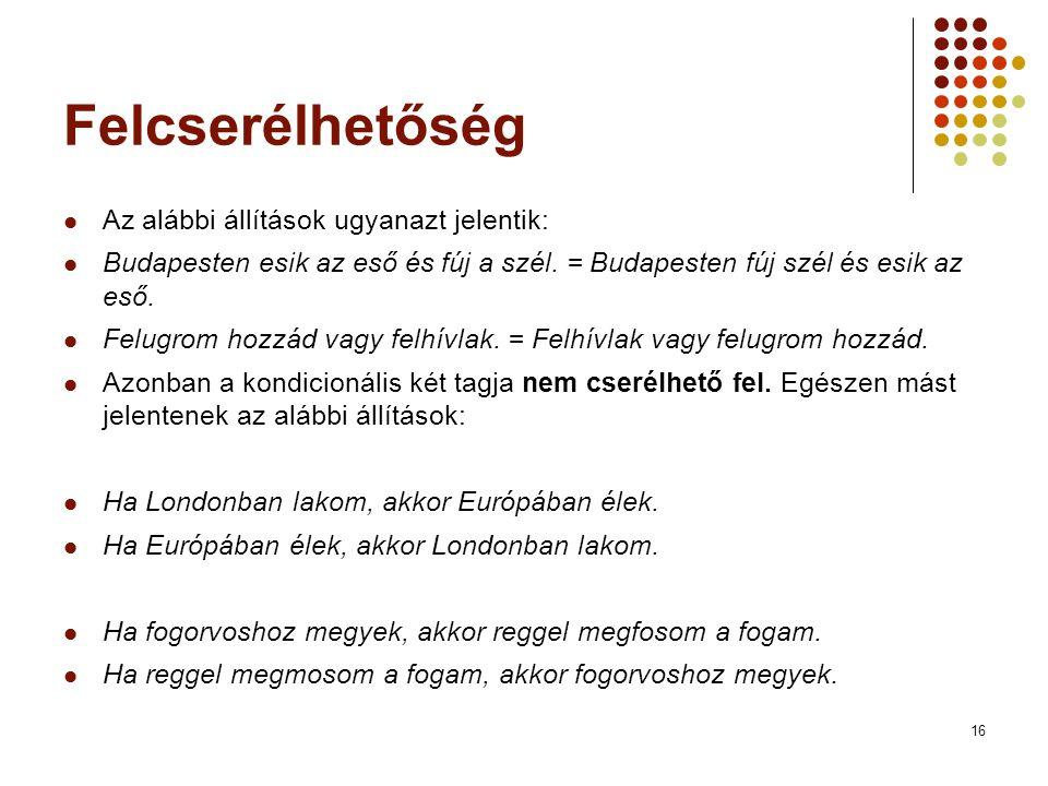 16 Felcserélhetőség  Az alábbi állítások ugyanazt jelentik:  Budapesten esik az eső és fúj a szél. = Budapesten fúj szél és esik az eső.  Felugrom
