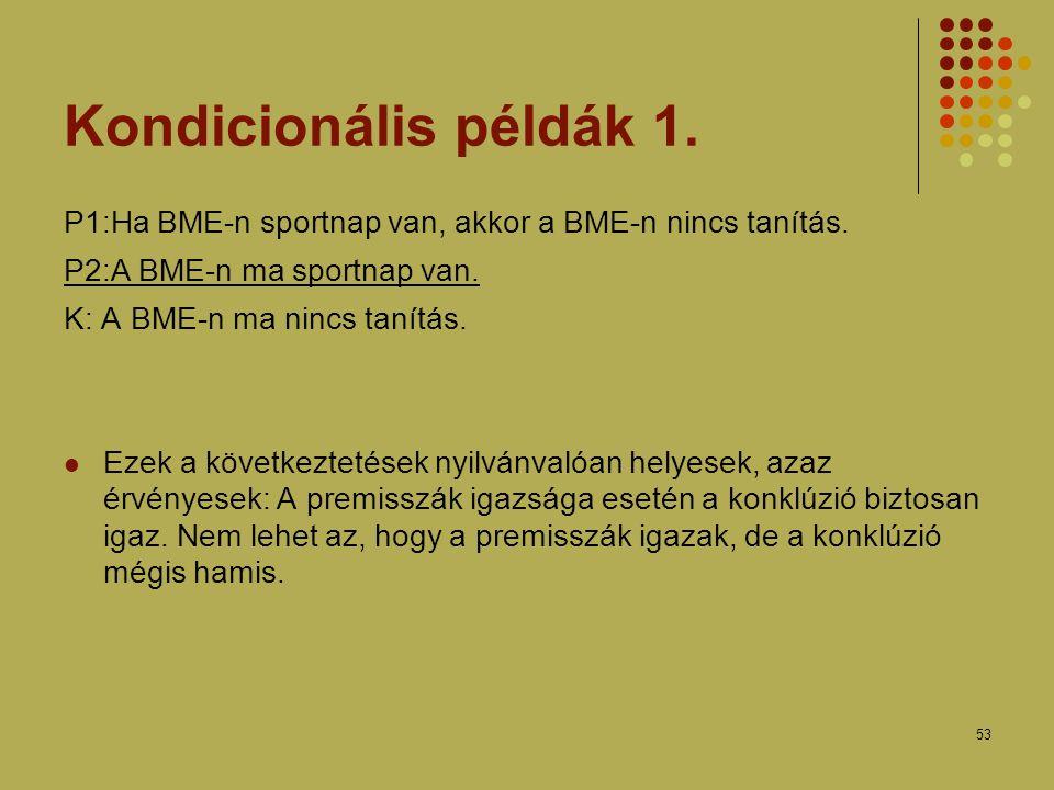 53 Kondicionális példák 1.P1:Ha BME-n sportnap van, akkor a BME-n nincs tanítás.