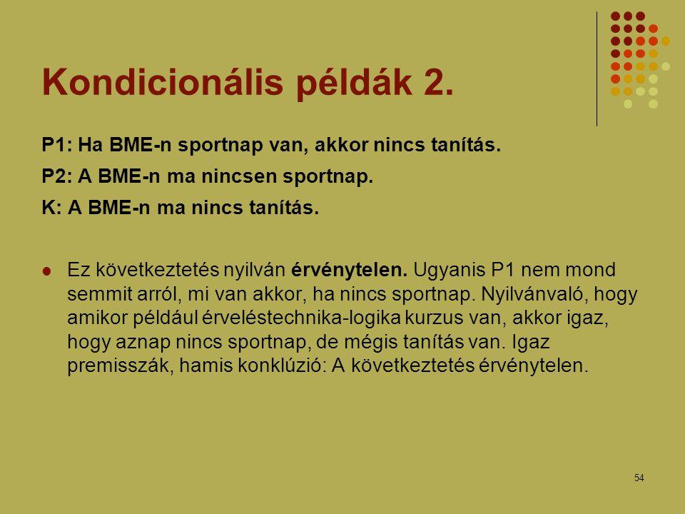 54 Kondicionális példák 2.P1: Ha BME-n sportnap van, akkor nincs tanítás.