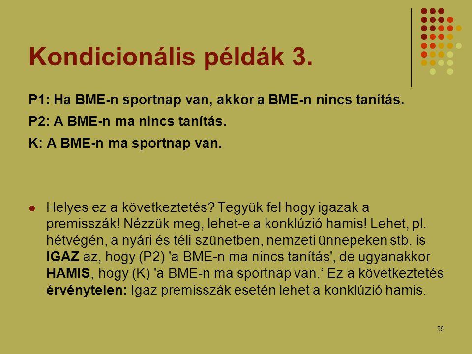 55 Kondicionális példák 3. P1: Ha BME-n sportnap van, akkor a BME-n nincs tanítás. P2: A BME-n ma nincs tanítás. K: A BME-n ma sportnap van.  Helyes