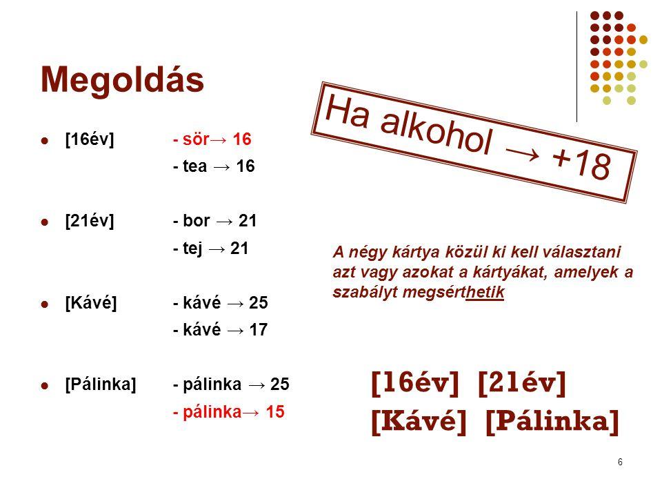6 Megoldás  [16év]- sör→ 16 - tea → 16  [21év]- bor → 21 - tej → 21  [Kávé] - kávé → 25 - kávé → 17  [Pálinka]- pálinka → 25 - pálinka→ 15 [16év] [21év] [Kávé] [Pálinka] Ha alkohol → +18 A négy kártya közül ki kell választani azt vagy azokat a kártyákat, amelyek a szabályt megsérthetik