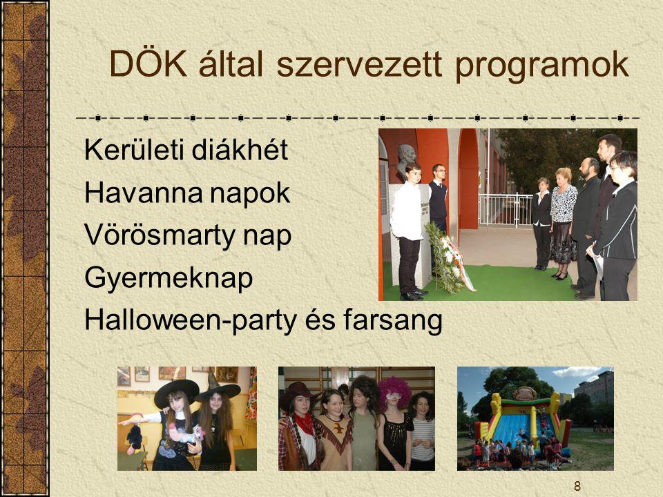 8 DÖK által szervezett programok Kerületi diákhét Havanna napok Vörösmarty nap Gyermeknap Halloween-party és farsang
